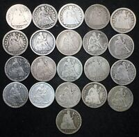 5 & 10 NIGHT  NICE LOT OF 21 SEATED LIBERTY DIMES. 1842 1891
