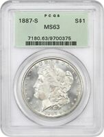 1887-S $1 PCGS MINT STATE 63 OGH OLD GREEN LABEL HOLDER - MORGAN SILVER DOLLAR