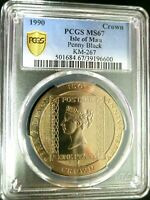 PCGS MS67 GOLD SHIELD ISLE OF MAN 1990 PENNY BLACK STAMP 1CR