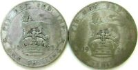 GREAT BRITAIN UK COINS ONE SHILLING 1922 & 1924 GEORGE V SIL