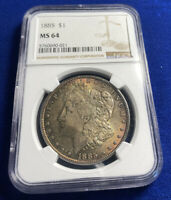 1885 MORGAN DOLLAR NGC MINT STATE 64 W/COLOR