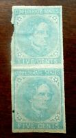 BUFFALO STAMPS:  SCOTT CONFEDERATE 6 PAIR ONE STAMP IS A SPA
