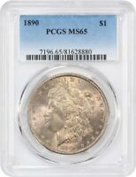 1890 $1 PCGS MINT STATE 65 - PRETTY PINK TONING - MORGAN SILVER DOLLAR