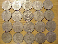A COLLECTION OF 20 OLD ONE SHILLING COINS   DATES 1947   196