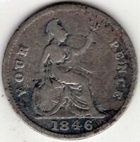 1846 GREAT BRITAIN FOUR 4 PENCE GROAT VICTORIA STERLING SILV