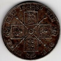 1889 GREAT BRITAIN DOUBLE FLORIN VICTORIA STERLING SILVER CO