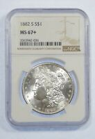 1882-S MORGAN DOLLAR CERTIFIED NGC MINT STATE 67 SILVER $