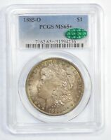 1885-O MORGAN DOLLAR CERTIFIED CAC & PCGS MINT STATE 65 SILVER $   PRETTY PASTEL TONE