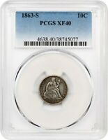 1863-S 10C PCGS EXTRA FINE 40 -  S-MINT - SEATED LIBERTY DIME -  S-MINT