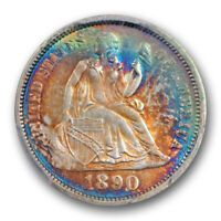 1890 10C SEATED LIBERTY DIME PCGS MS 64 UNCIRCULATED MONSTER TONED COLORFUL B