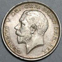 1918 GEORGE V 1/2 CROWN AU GREAT BRITAIN STERLING SILVER COIN  20082101C