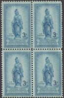 SCOTT  989   US BLOCK OF FOUR   FREEDOM STATUE CAPITOL DOME   MNH   1950