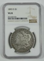 1893-S MORGAN DOLLAR CERTIFIED NGC VG 8 SILVER DOLLAR  KEY DATE OF THE SERIES