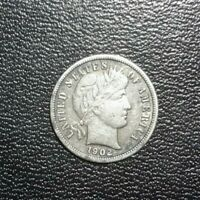 1902-S BARBER DIME KEY DATE EXTRA FINE  BOLD LIBERTY