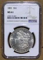 1891 $1 MORGAN SILVER DOLLAR NGC MINT STATE 61 BETTER DATE SEMI PL  WHITE COIN