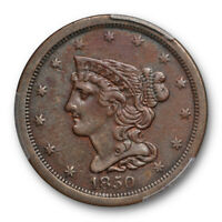 1850 1/2C BRAIDED HAIR HALF CENT PCGS EXTRA FINE  40 EXTRA FINE BETTER DATE TOUGH COIN