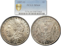 TONED 1887-O MORGAN SILVER DOLLAR $1 PCGS MINT STATE 64 GOLD SHIELD