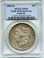 C8804- 1890-O VAM-20 DOUBLED EAR HIT LIST 40 MORGAN DOLLAR PCGS EXTRA FINE 40
