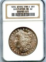 C11361- 1896 VAM-4 DDO STARS TOP 100 MORGAN DOLLAR NGC MINT STATE 62