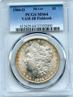 C10596- 1904-O VAM-4B FISHHOOK HIT LIST 40 MORGAN DOLLAR PCGS MINT STATE 64