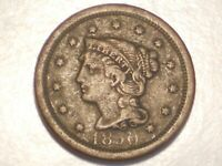 1850 LARGE CENT VF, N-24, R-4, & ATTRACTIVE
