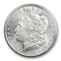 1892 $1 MORGAN DOLLAR PCGS MINT STATE 62 UNCIRCULATED BLAST WHITE LUSTROUS BETTER DATE