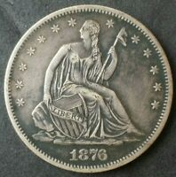 1876 S 50C SEATED LIBERTY SILVER HALF DOLLAR
