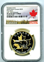 2020 $25 CANADA SILVER PROOF GOLD PLATE PIEFORT NGC PF69 UC