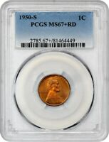 1950-S 1C PCGS MINT STATE 67 RD - REGISTRY QUALITY - LINCOLN CENT - REGISTRY QUALITY