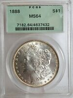 1888-P MORGAN DOLLAR PCGS OGH MINT STATE 64 TONED