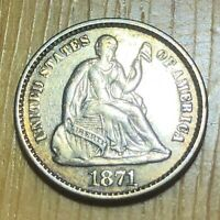 1871 SEATED LIBERTY HALF DIME   NICE DETAIL