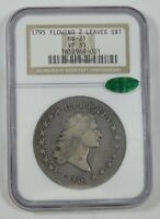 1795 FLOWING HAIR TWO LEAVES SILVER DOLLAR CERTIFIED CAC & NGC VF 35 BB-21