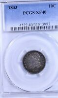 1833 CAPPED BUST DIME : PCGS EXTRA FINE 40