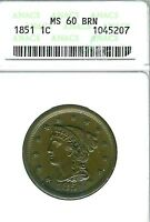 1851 BRAIDED HAIR LARGE CENT : ANACS MINT STATE 60BN