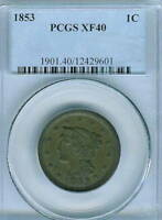 1853 BRAIDED HAIR LARGE CENT : PCGS EXTRA FINE 40