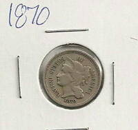 1870 THREE CENT NICKEL :  FINE