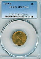 1949-S LINCOLN CENT : PCGS MINT STATE 67RD