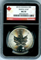 2015 $5 CANADA 1 OZ SILVER MAPLE LEAF NGC MS70  BLACK CORE RED LABEL