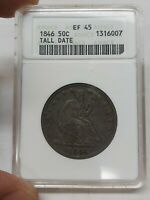 1846 SEATED LIBERTY HALF DOLLAR TALL DATE XF45 OLD ANACS LOO