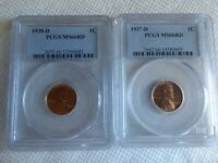 LOT OF 2 PCGS 1937-D AND 1938-D MINT STATE 66 RD RED LINCOLN CENTS