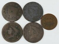 4   LARGE ONE CENT &   1   2 CENT COINS     5   COINS TOTA