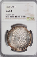 1879 O $1 MORGAN SILVER ONE DOLLAR MINT STATE 63 NGC NEW ORLEANS BRILLIANT UNCIRCULATED