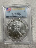1993 1OZ. SILVER EAGLE PCGS MINT STATE 69 FIRST STRIKE