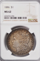 1886 $1 MORGAN SILVER ONE DOLLAR MINT STATE 62 NGC PHILADELPHIA UNCIRCULATED