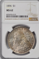 1896 $1 MORGAN SILVER ONE DOLLAR MINT STATE 62 NGC PHILADELPHIA UNCIRCULATED COIN