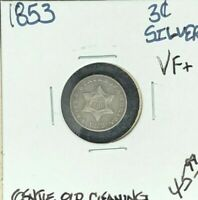 1853 THREE CENT SILVER PIECE  VF GENTLE OLD CLEANING  LOOK