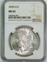 1878 S NGC MINT STATE 63 MORGAN SILVER DOLLAR ITEMT12319