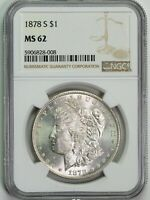 1878 S NGC MINT STATE 62 MORGAN SILVER DOLLAR ITEMT12324