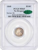 1840 H10C PCGS/CAC MINT STATE 65 NO DRAPERY LOVELY TYPE COIN - SEATED HALF DIME