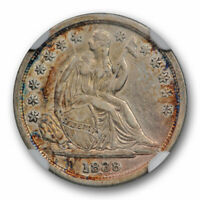 1838 10C SEATED LIBERTY DIME NO DRAPERY LARGE STARS NGC EXTRA FINE  45 EXTRA FINE TO A